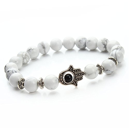 ECYC Männer Frauen Weiß Energie Stein Perlen Armband Yoga Mala Meditation Armreif -