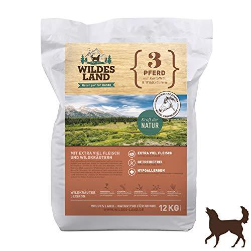 Wildes Land | Trockenfutter für Hunde | Nr. 3 Pferd | 12 kg | mit Kartoffeln und Wildkräutern | Glutenfrei & Hypoallergen | Extra viel Fleisch | Alle Hunderassen Akzeptanz und Verträglichkeit