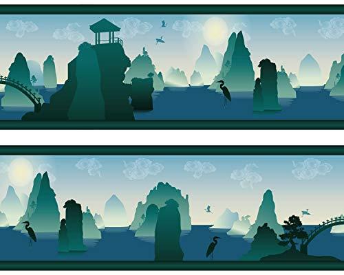 "Kleisterbordüre ""Chinalandschaft"", 4-teilig 520x15cm, Tapetenbordüre, Wandbordüre, Borte, Wanddeko,Asia, chinesisch"