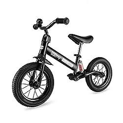 Besrey Laufrad, Griff und Lenker verstellbar. Perfekte Stoßdämpfer und Luftreifen. Ein Fahrrad ohne Pedal kann dem Kind helfen, das Laufen zu lernen. 2-5 Jahre. Schwarz.