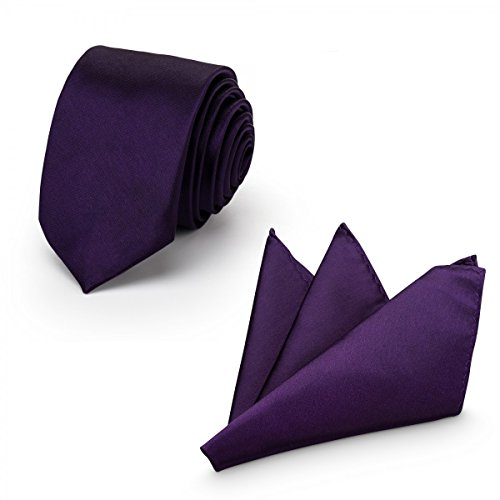 Rusty Bob - Herren-Krawatte mit Einstecktuch + Fliege - erhältlich in verschiedenen Farben - zum Anzug, zur Taufe, Hochzeits-Set - 3-teilig - Lila