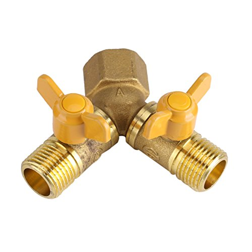 Adaptateur connecteur Robinet à 2 Voies Répartiteur tuyau pour dédoubler robinets en laiton 1/2in Accessoire pour arrosage jardin