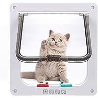 Sailnovo Katzenklappe 4-Way Magnetic Lock hundeklappe Haustiertüre Cat Flap große, 23.5*25*5.5cm Dog Cat Pet Door Flap Easy Install with Telescopic Frame with Heavy Duty Quiet Magnetic Frame, L weiß