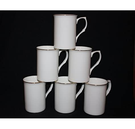 Set of 6 fine Bone China Opaque White Gold Banded Mugs Cups