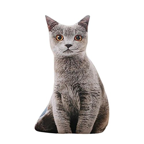 Cuscino di natale,kword 1 pc bella farcita 3d simulazione gatto cuscino 4 stili divertenti grigio gatto giocattolo 50cm (c)