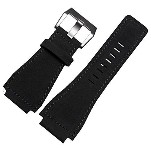 Schwarz Leder Uhrenarmband 24mm geeignet BR01BR03Bell & Ross Military Band Schnalle