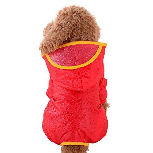 YWLINK Haustier Hund Puppy Katze Regenbekleidung Mit Kapuze Poncho Regenmantel Wasserfeste Jacke Volltonfarbe Kleider(Rot,S)