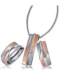 Goldmaid Damen-Schmuckset Halskette + Ohrringe rot vergoldet Silber teilrhodiniert Zirkonia Brillantschliff weiß - Zi S4631S rosegold Schmuck