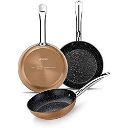 Monix Copper - Set de 3 sartenes efecto cobre, aluminio forjado antiadherente con partículas de titanio, 20-24-28 cm , aptas para todo tipo de cocinas incluso inducción