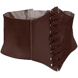 Cinturones De Cuero De Imitación Ancha Correa De Cintura Elástico Hebilla Para Señoras Mujeres - marrón