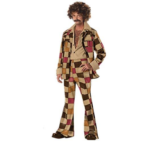 NCTM Hawaiianisches Retro-Kostüm der 80er Jahre Hip-Hop-Kostüm im Nachttanzkostüm für DJs, Kleidung für Damen und Herren (Farbe : Men, größe : XL)