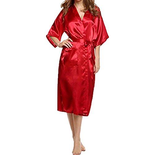 Damen Bademäntel CLOOM Sexy Nightwear bathrobe Weich Soft Nachtwäsche kimono Kurz Ärmel Tops Mini Kleider Frauen Dessous Babydoll Casual Unterwäsche lang Coat Morgenmäntel (Rot, XL) (Langen Roten Dessous Kleid)