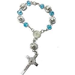 Nazareth Store, Rosaire catholique Saint Benoît avec perles bleu clair, pour rétroviseur de voiture médaille NR Jérusalem