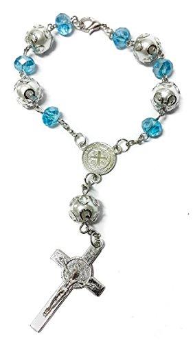 Nazareth Market Store Heiliger Benedikt, Hellblaue Perlenkette, Auto-Rosenkranz, Katholische NR Medaille, Jerusalem