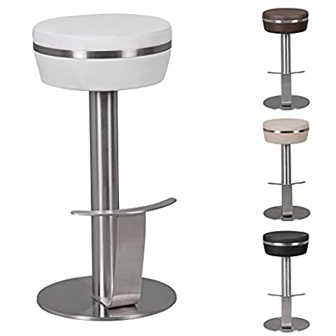 FineBuy Barstool with silver stainless steel frame | Design stool with leatherette upholstery in White | Contemporary bar chair with footrest | Counter stools seat is rotatable