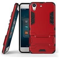 Ougger Fundas Huawei Honor 5A Funda Carcasa, Protector Absorción de Impacto [Kickstand] Piel Armor Cover Duro Plástico + Suave TPU Ligero 2in1 Gear Rear para Huawei Honor 5A Red