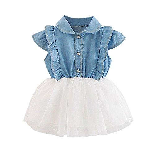 Vovotrade Sommerkleid ärmellose Jeans Patchwork Prinzessin Kleid Gril Kinder Kleidung für 3 bis 24 Monate Mädchen (Weiß, Größe: 18M) (Kleider Grils)