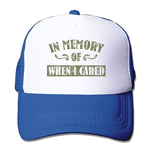 Gorgeous ornaments Adult's in Memory of When I Cared Youth Mesh Baseball Cap Summer Adjustable Trucker Hat