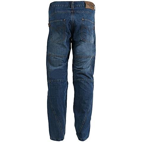 Pantalones vaqueros estilo cargo para hombre - Reforzados para motociclismo - Azul - W44'' L29''
