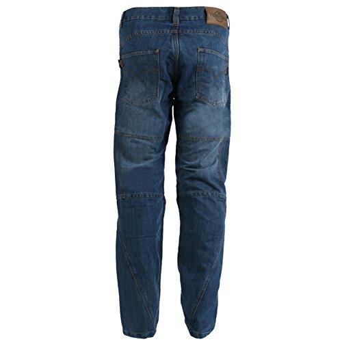 Texpeed - Herren Motorradhose im Cargo-Jeans-Design - Kevlar-verstärkt - Blue Washed - Größe W42'' L33'' -