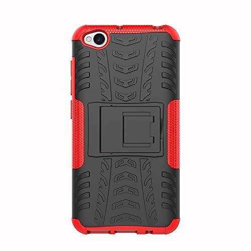 Azihone Xiaomi Redmi Go Funda,360 Grados Protección A Prueba de Choques Cubierta 2in1 TPC Carcasa Skin Case Cover Compatible Xiaomi Redmi Go - Rojo + Protector de Pantalla