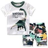 Tyoby Baby Cartoon Dinosaurier Camouflage Top + Camouflage Shorts zweiteilig Mode Kurzarmanzug (Weiß,140)