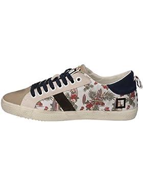 D.A.T.E. Sneakers Donna Beige Blu Tessuto Camoscio AE570