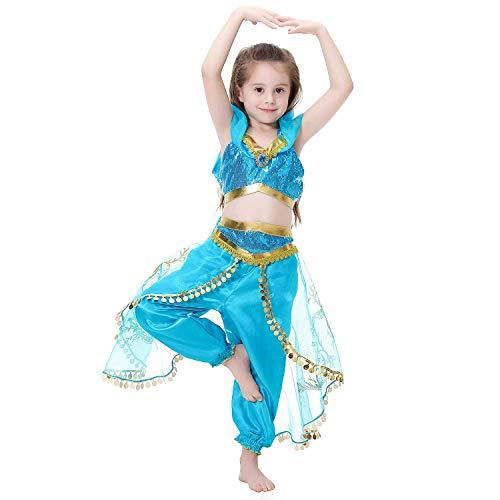 Yigoo Karneval Kostüm Kinder Mädchen Jasmin Prinzessin Pailletten Cosplay Crop Top Hose Verkleidung Fasching Party 140