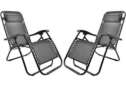 Merax Sonnenliege Strandstuhl Relaxliege Gartenliege Liegestuhl mit Kopfkissen klappbar und verstellbar Gartenliege Relax-Liegestuhl (2, Schwarz)