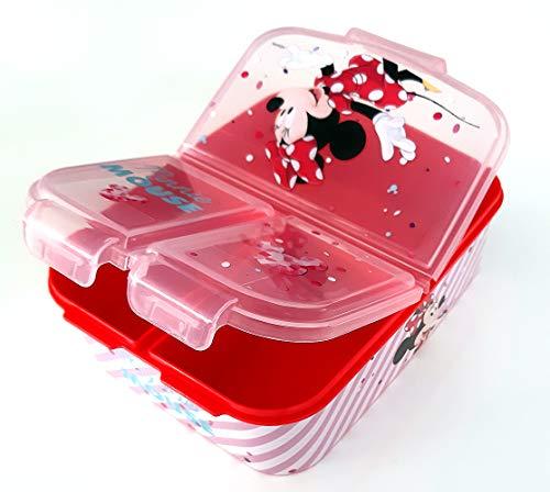 Minnie Maus Kinder Brotdose mit 3 Fächern, Kids Lunchbox,Bento Brotbox für Kinder - ideal für Schule, Kindergarten oder Freizeit thumbnail