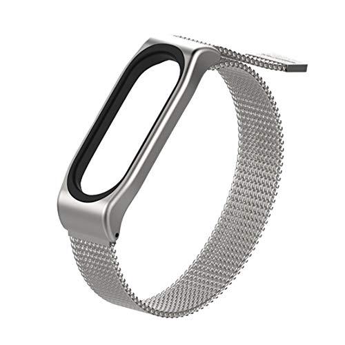happy event Magnetisches Edelstahl Uhrenarmband Ersatz Armband Riemen für Xiaomi Band 3 (Silber)