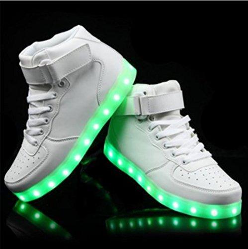 (Présents:petite serviette)JUNGLEST - 7 Couleur Mode Unisexe Homme Femme USB Charge LED Lumière Lumineux Clignotants Chaussures de marche Chaussures de Sports Baske Blanc 1