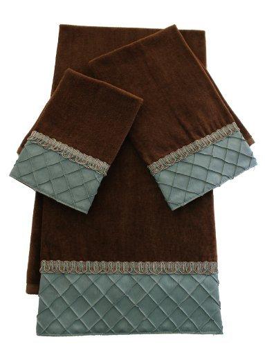Sherry Kline Pleated Diamond 3-Piece Decorative Towel Set, Brown/Blue by Sherry Kline