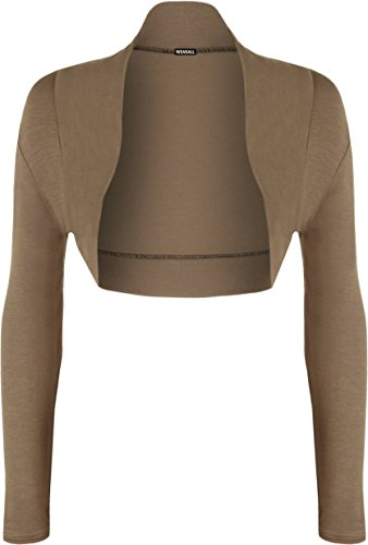 WearAll - Grande Taille manches longues Ouvrir Bolero Cardigan Mesdames court Haut - Hauts - Femmes - Tailles - 14-56 Moka