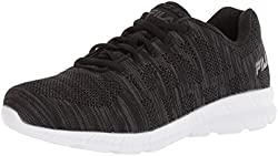 Fila Womens Memory Techknit Running Shoe, Black/Dark Shadow/White, 10 Medium US