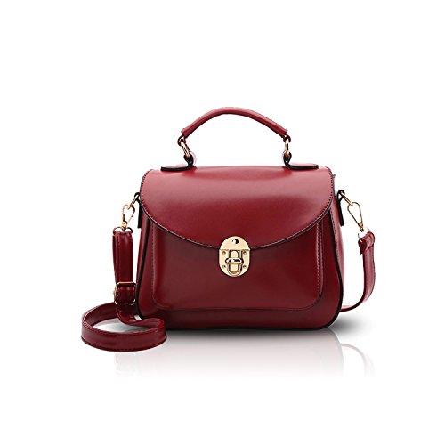 - 41bSaPfnDkL - NICOLE&DORIS Handbag Crossbody Totes Satchel Shoulder Square Bag for Women Soft PU Purse Red Wine