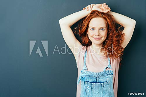 druck-shop24 Wunschmotiv: Happy Friendly Cute Young Woman in Dungarees #200433068 - Bild auf Leinwand - 3:2-60 x 40 cm / 40 x 60 cm -