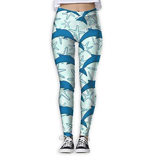 Miedhki Yoga-Hose mit Delfin-Muster, hohe Taille, mit Tasche, Bauchkontrolle, Workout, Laufen, Stretch, Yoga Gr. L, multi
