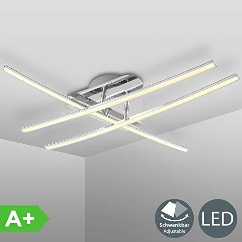 B.K. Licht plafonnier 3 barres LED dont 2 pivotantes, lampe plafond design moderne, plafonnier LED salon salle à manger chambre cuisine couloir, IP20, 24W