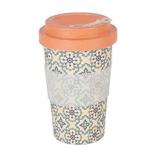 Thermo Rex Kaffeebecher to go Bambus Verschließbar | Moderner Bambus Becher to go | Umweltfreundliche Trinkbecher Alternative | Bamboo Cup 350ml Eiskristalle | Wichtelgeschenk