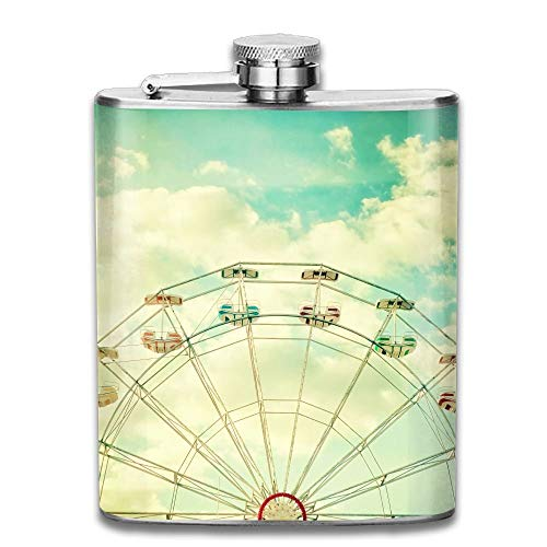 Beautiful Ferris Wheel Stainless Steel Liquor Flagon Retro Pocket Flask\\Stainless Steel Travel Flask Great Little Gift,Safe And Nontoxic