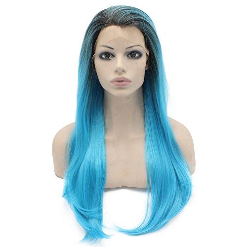 Iwona Lange Gerade Ombre Blau Synthetische Lace Front Perücke Hitzebeständig Faser Haar Perücke, (Angel Kostüme Womens Dark)