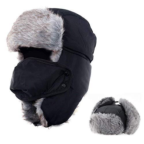 AYAMAYA Wintermütze Fliegermütze für Herren Damen, Warm Fellmützemit Ohrenklappen Klassische Trappermütze Russische Mütze (Schwarz)