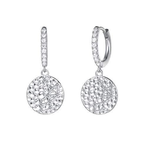 Silber OHRRINGE HÄNGEND für Damen Glücksmünze 925 Silber Creolen Münze Anhänger Ohrhänger für Mädchen Silberweiß