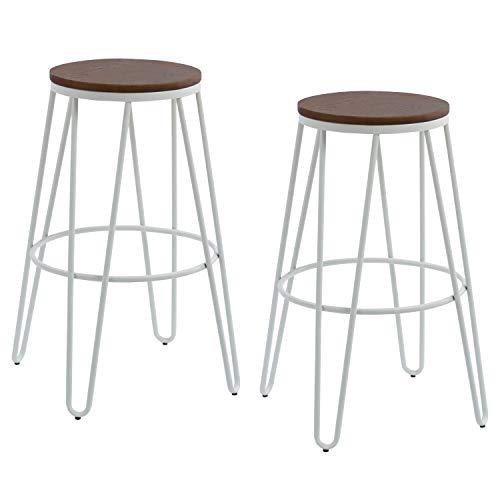 THC Living Metall Industrial Barhocker - 2er Set - Holz Sitz - Industrie Design - Bistrohocker - Tresenhocker (weiß) -