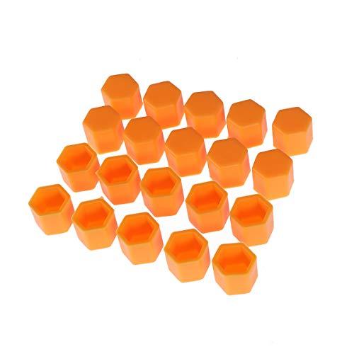 Vosarea 20pcs Radmutternabdeckungen Bolzenabdeckungen Schraube schützen Kappen 21mm (Orange)