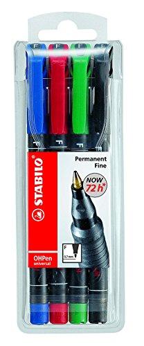 STABILO OHPen universal Penna per superfici lisce Tratto Fine colori assortiti - Astuccio da 4