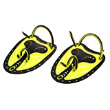 Nuoto Palette a Mano, Nuoto Pagaie, Risparmiare Fatica Pagaia Senza Spalline da Nuotare Allenamento per Uomo Donna Adulti Bambini (L-Yellow)