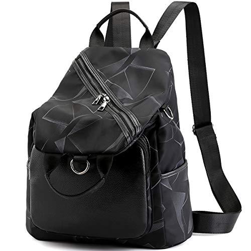 Myhozee Rucksack Handtasche 3 in 1 Tasche Damen Daypack Schultaschen Umhängetasche wasserdichte Nylon Tagesrucksack Multifunktion Rucksäcke für Damen Frau Schule, Arbeit, Reisen (Schwarz)