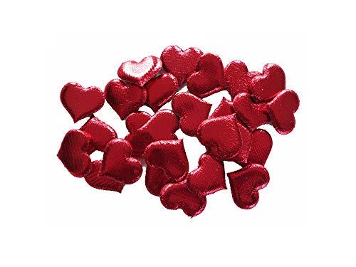 Deko Herzen 30 mm, rot, 4 Klarsichtboxen a´ 25 Stück, Gesamtmenge: 100 Stück, (EUR 0,22 je Stück), Satin, wattiert, glänzend, Streudeko für Hochzeiten, Geburtstage, Taufen,